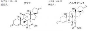 セララ錠とアルダクトン錠の分子構造